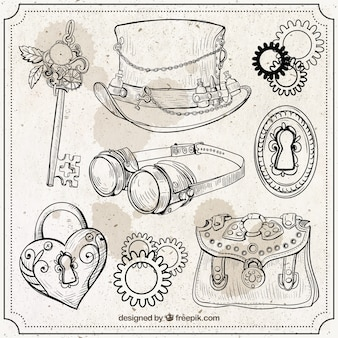 Hand drawn steampunk elements set