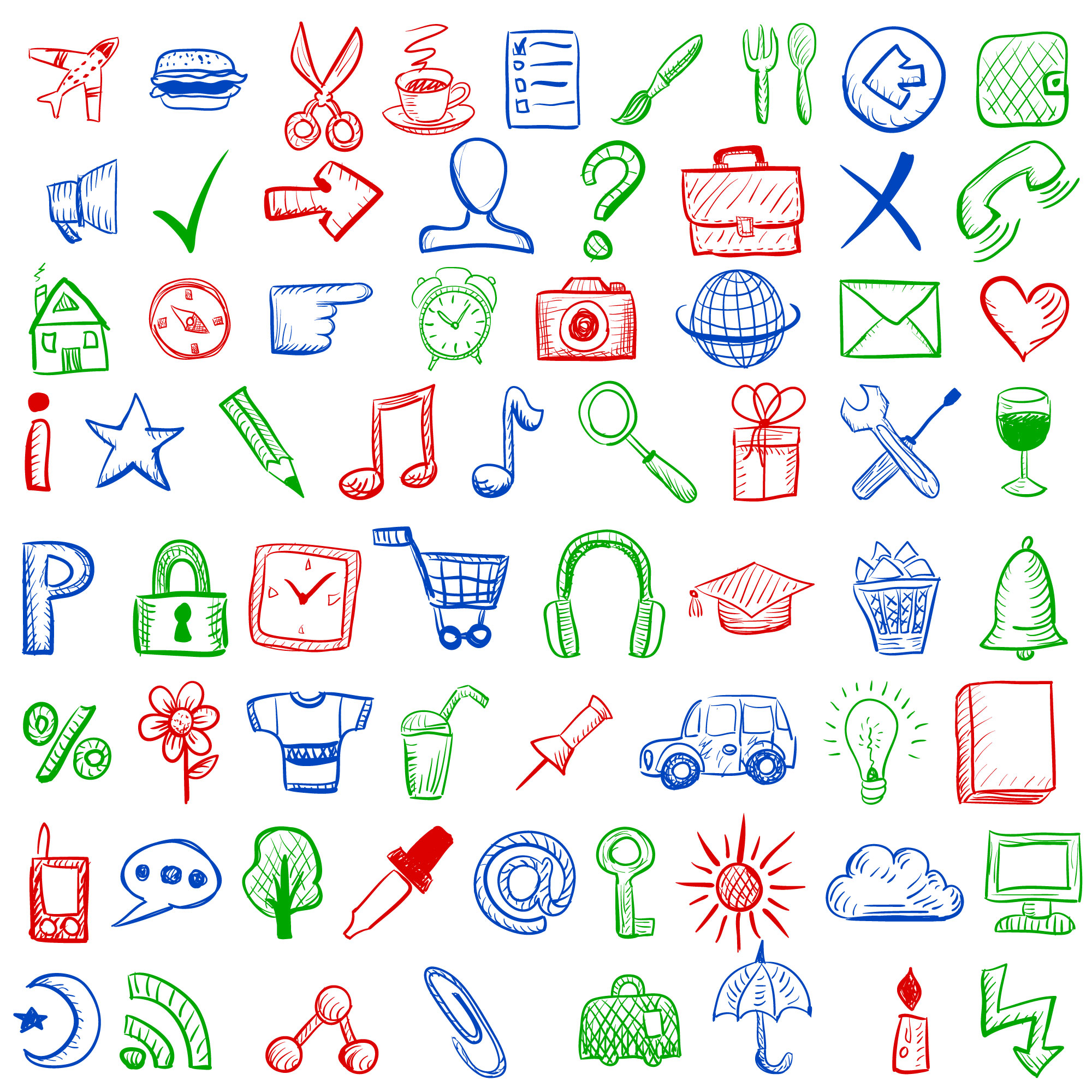 Hand drawn style icons for mobile applications