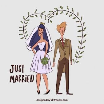 hand drawn stylish wedding couple