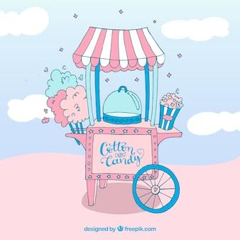 Hand drawn sugar cotton shopping cart