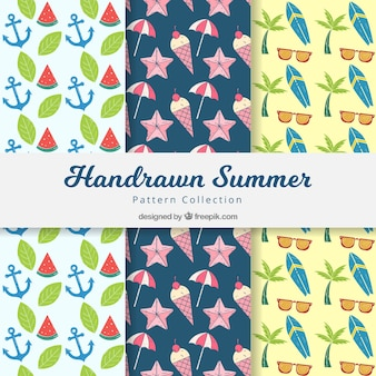 Hand drawn summer decorative patterns