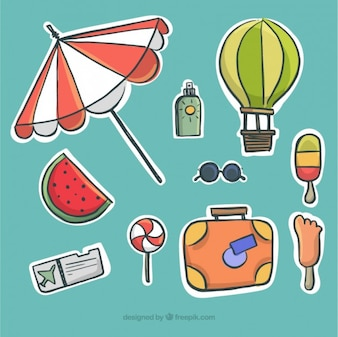 Hand drawn summer elements pack