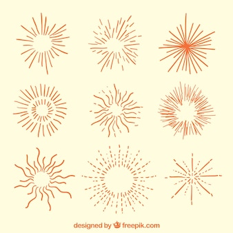 Hand drawn sunbursts