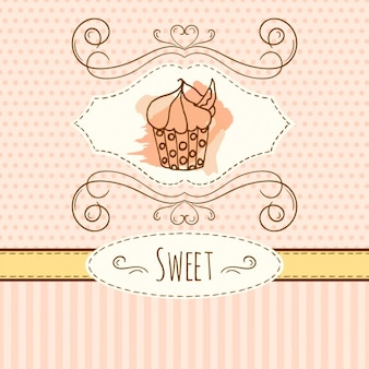 Hand drawn sweet cupcake background