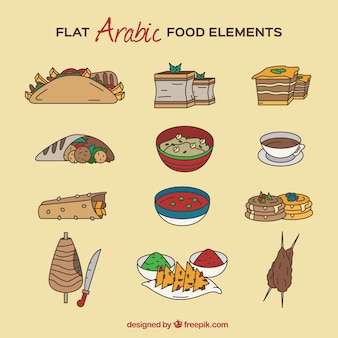 Hand drawn tasty arabic food dishes