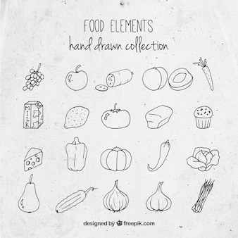 Hand drawn tasty food collection