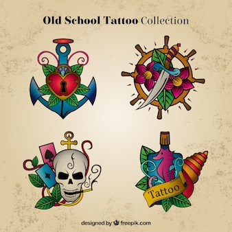 Hand drawn tattoos in colors