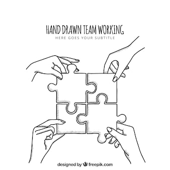 Hand drawn team work with puzzle
