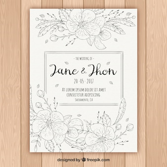 Hand-drawn template of floral wedding invitation