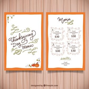 Hand drawn thanksgiving menu template