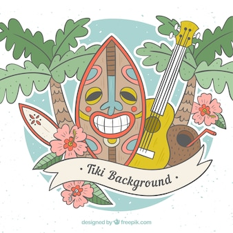 Hand drawn tiki background with fun style