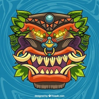 Hand drawn tiki wild mask background