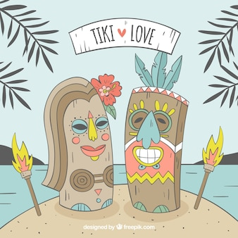 Hand drawn tki masks in love