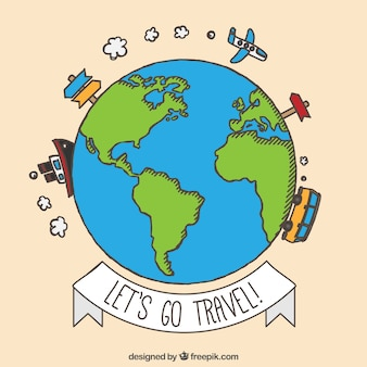 Hand drawn trave around the world background