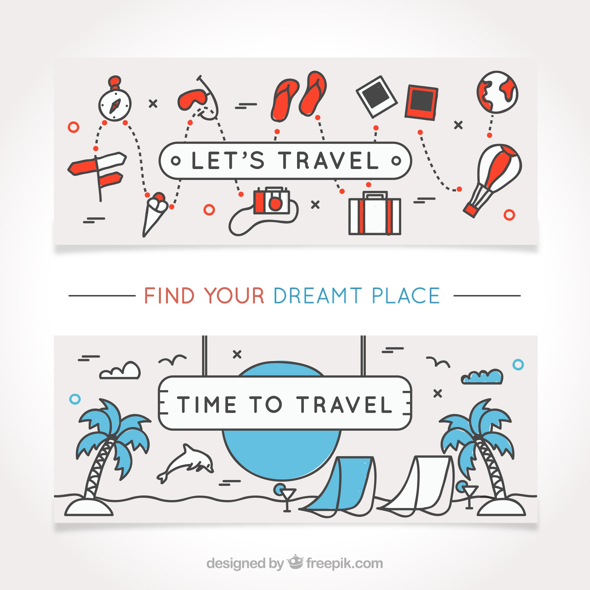 Hand-drawn travel banners with decorative items