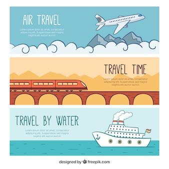 Hand drawn travel banners