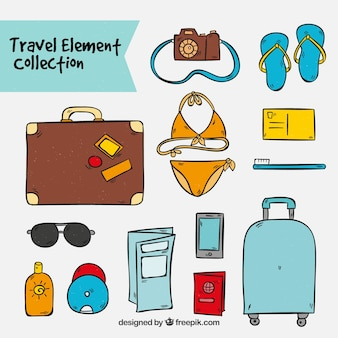 Hand drawn travel illustrations collection