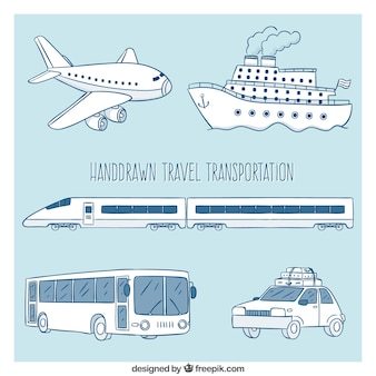 Hand drawn travel transportation