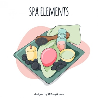 Hand drawn tray with spa elements