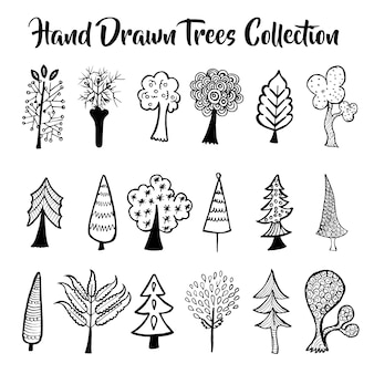 Hand drawn trees collection