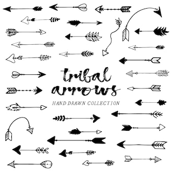 Hand drawn tribal arrows collection