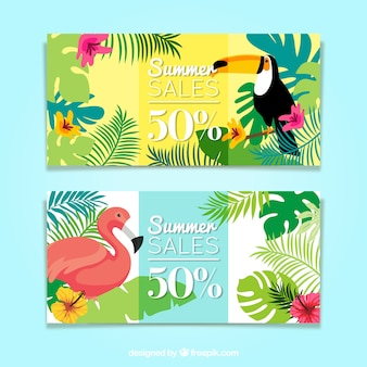Hand drawn tropical banners of summer sales