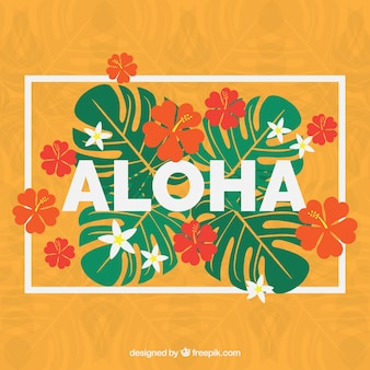 Hand drawn tropical flowers and leaves aloha background