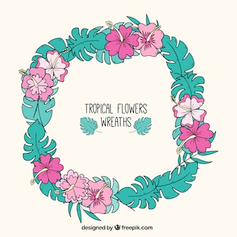 Hand drawn tropical wreath for decoration