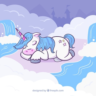 Hand drawn unicorn sleeping