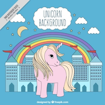 Hand drawn unicorn with castle background