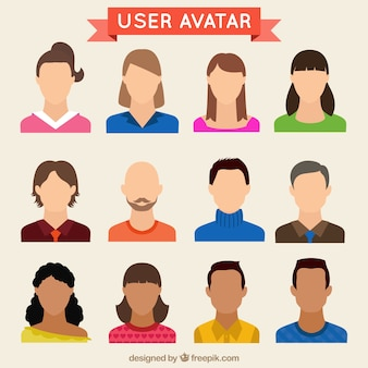 Hand drawn user avatars set