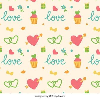 Hand drawn valentine elements pattern