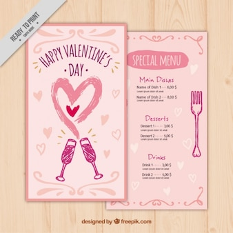 Hand drawn valentine's special menu