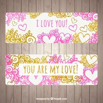 Hand drawn valentines day banner pack