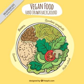 Hand drawn varied vegan food dish background