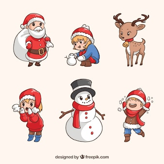 Hand drawn variety of christmas characters