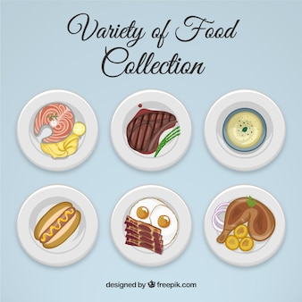 Hand drawn variety of food collection