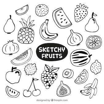 Hand drawn variety of fruits