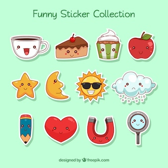 Hand drawn variety of fun stickers