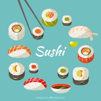 Hand drawn variety of sushi
