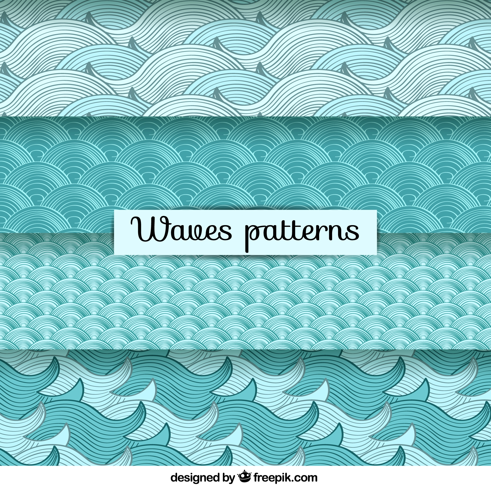 Hand drawn variety of waves patterns