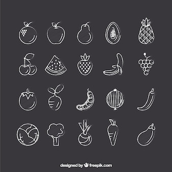 Hand drawn vegetable icons