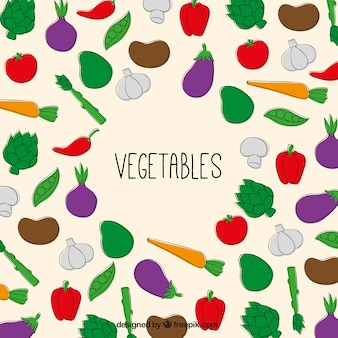 Hand drawn vegetables background