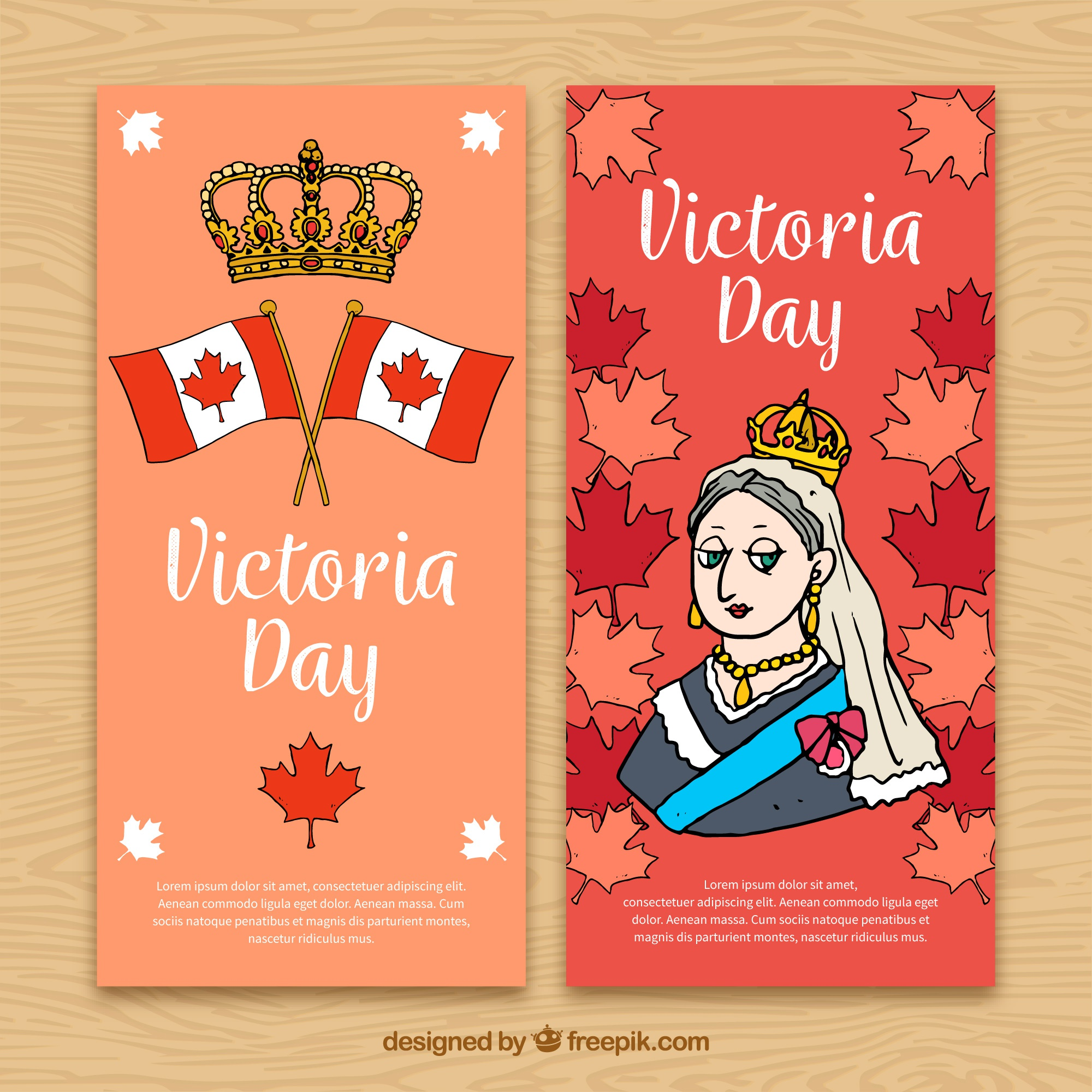 Hand drawn victoria day banners