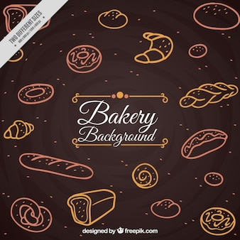 Hand drawn vintage bakery products background