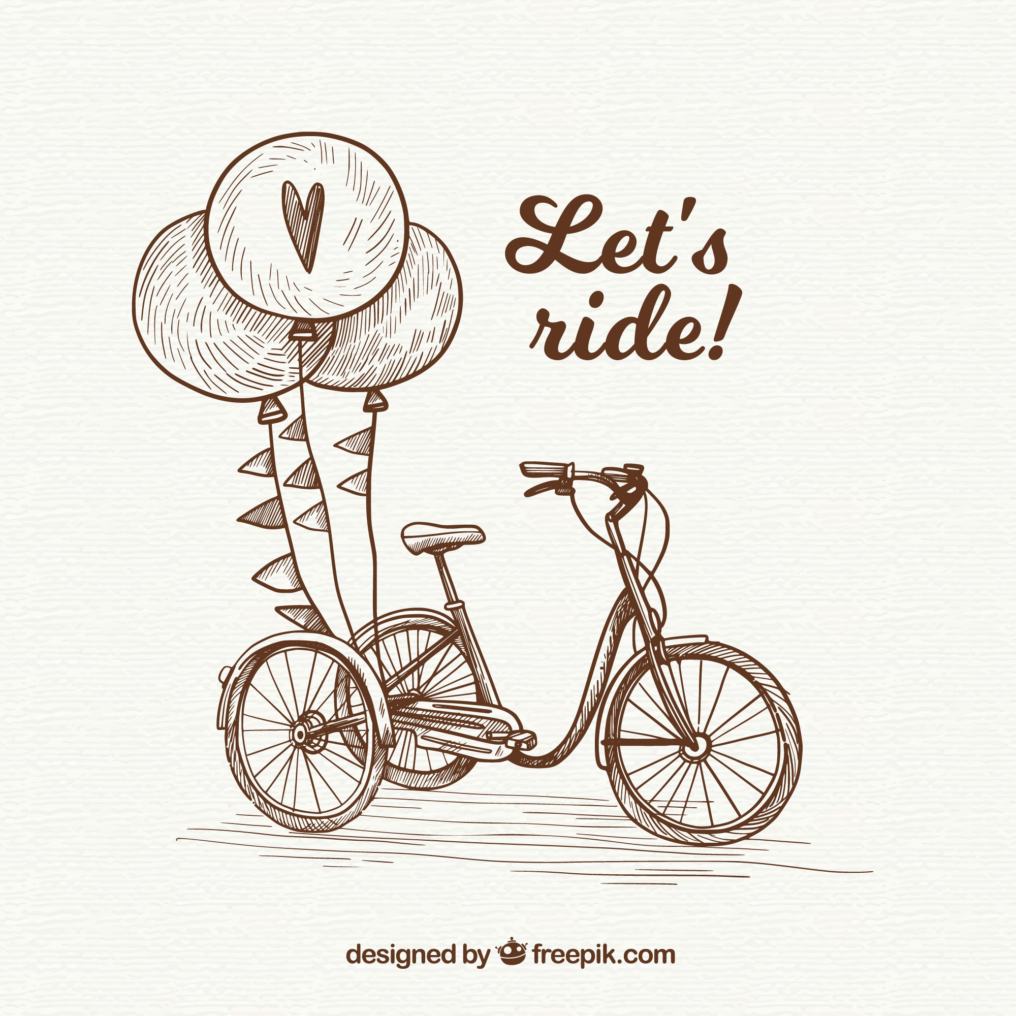 Hand drawn vintage bike and balloons