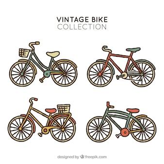 Hand drawn vintage bike collection