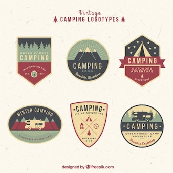 Hand drawn vintage campsite logos in colors