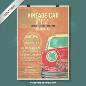 Hand drawn vintage car poster