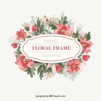 Hand drawn vintage floral label